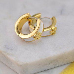 Tory Burch Simple Enamel Glazed Logo Earrings